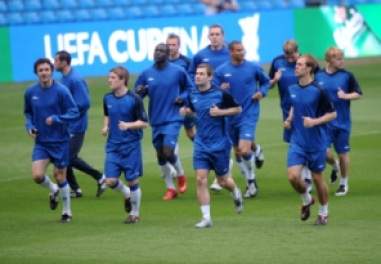 Rangers' players warming up for training session