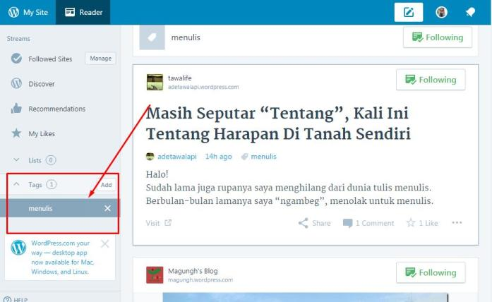 Menu Tag reader di WordPress
