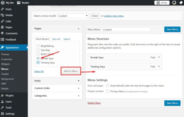 Cara Membuat Menu Bar Dan Sub Menu Bar Di WordPress