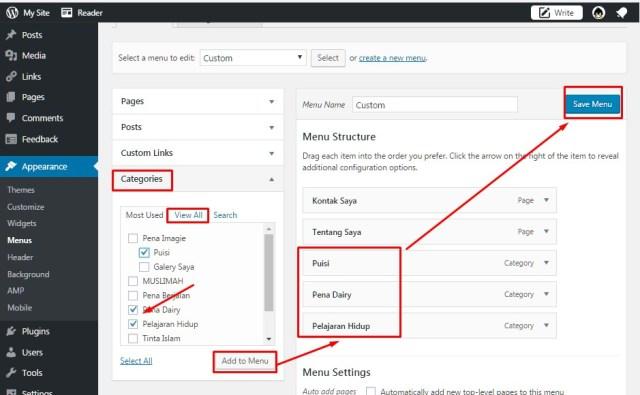 Cara Membuat Menu Bar Dan Sub Menu Bar Di WordPress