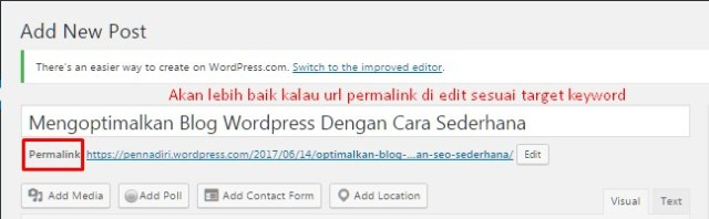 Edit permanent link merupakan seo friendly