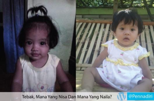 Foto Naila dan Nisa berumur 1 tahun