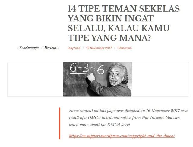 Tampilan blog yang sudah di laporkan plagiat