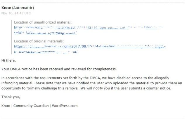 email balasan dari DMCA tentang pelanggaran hak cipta